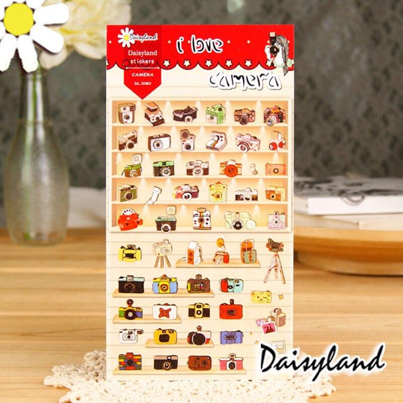 1 x Daisyland I Love Camera adhesive paper sticker decorative DIY scrapbooking sticker Paste kawaii stationery