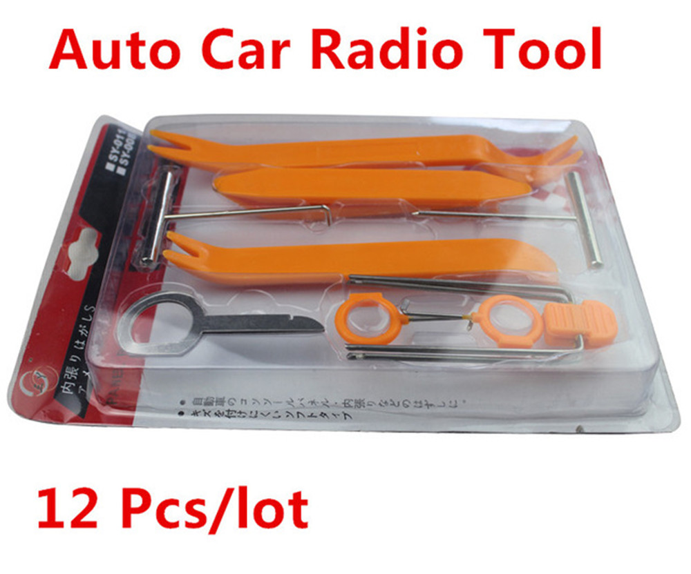 12pcs/Set Car Auto Disassembled Pry Kit Stereo Refit Interior Panel Molding Clip Auto Removal Tool car dvd player stereo refit tool kit 4pcs car door tools interior plastic trim panel dashboard installation removal pry