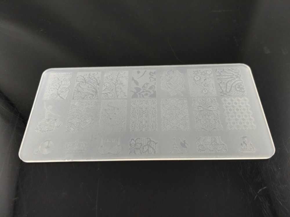 Nail Stamping Pelat Keras Plastik Template untuk Gel Polish Kuku Art Stamp Plastik 12X6 cm BC serial