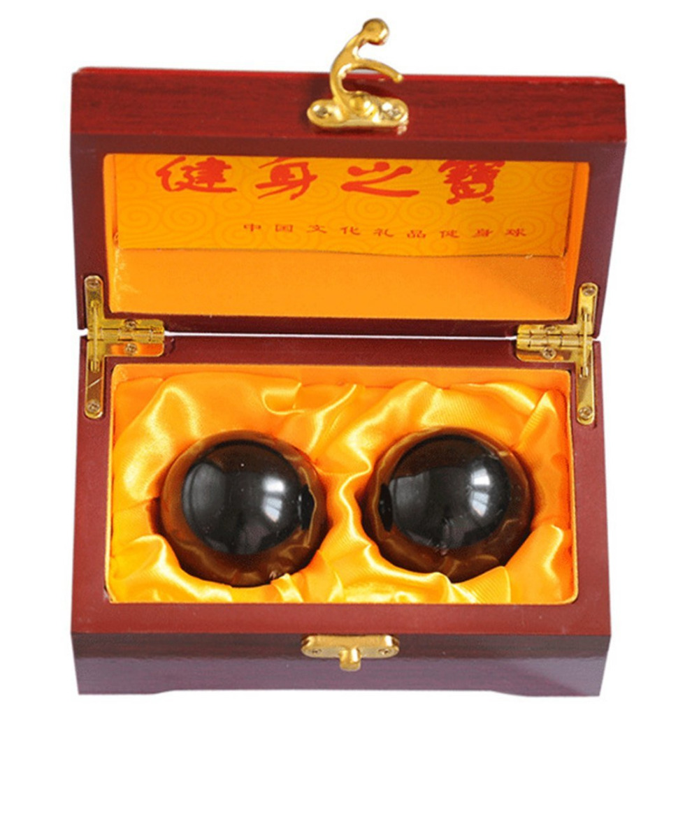 "2"" Feng Shui Natural Stone Baoding Balls Chinese Health Exercise Stress Balls With Gift Box W2351"