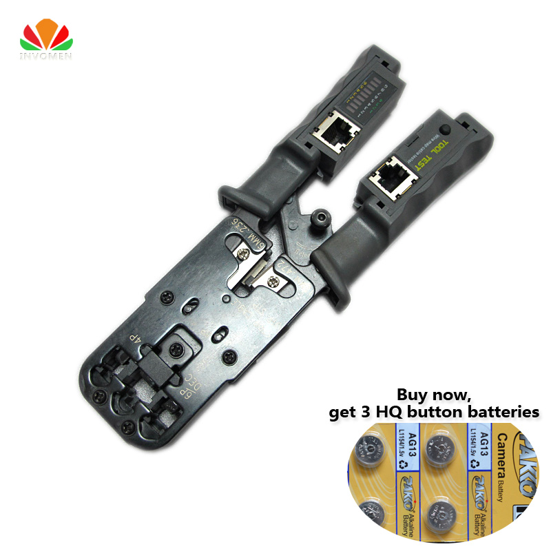 HQ export Multifunction Combo cable Tester telephone line RJ11 RJ45 Multi-modular Crimping pliers Removable Network tester Gerny 24 pcs rj45 modular network pcb jack 56 8p w led 4 ports