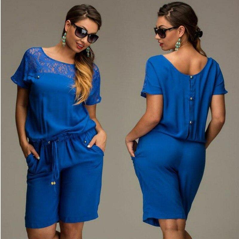 Short Sleeve Lace Plus Size Knee-Length Jumpsuit 1