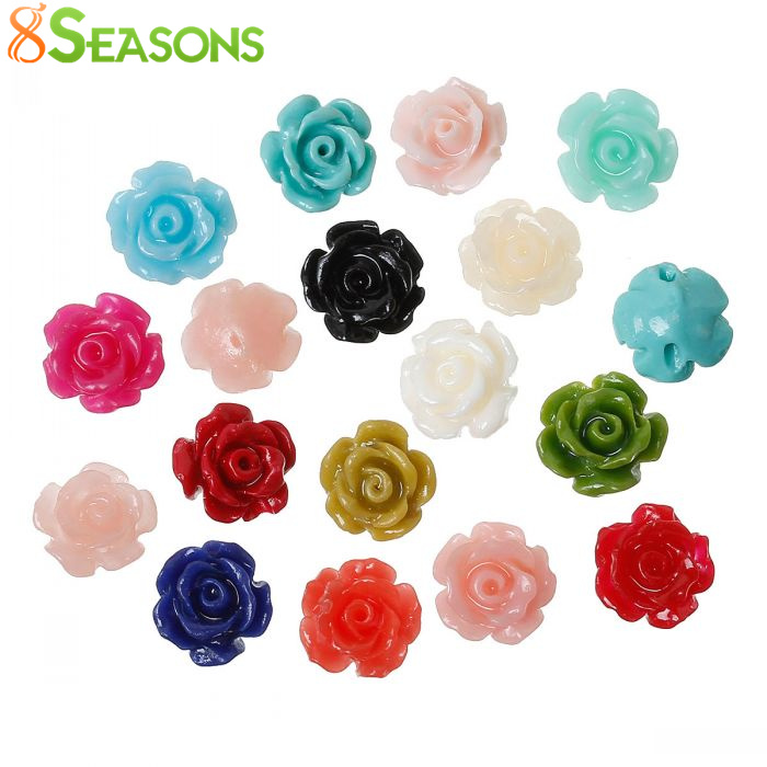 8SEASONS Created Coral Spacer Beads Rose Flower About 9mm x 8mm,Hole:Approx 1.3m