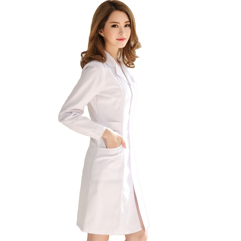 hospital long white doctor tunic dentist  doctor costume women long sleeve slim style durable and washable medical clothing