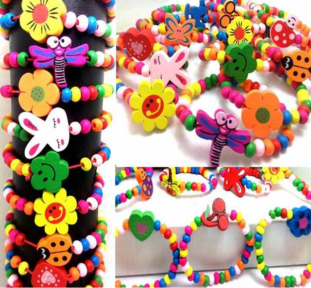 12pcs Children Party Bag Fillers Kids Birthday Gift Favor Girls Wood Beads  Elastic Bracelets Wholesale Lovely Wristbands Jewelry