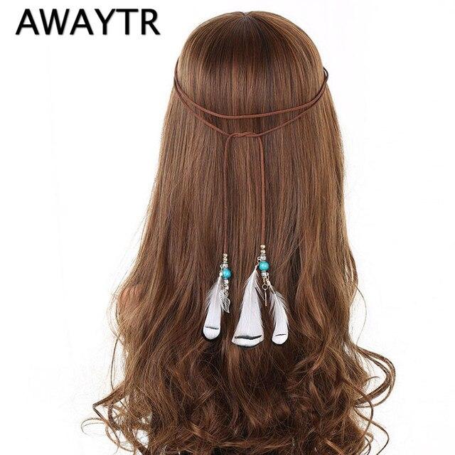 Bohemian Feather Braided Headband Hair Head Bands Beach Hair