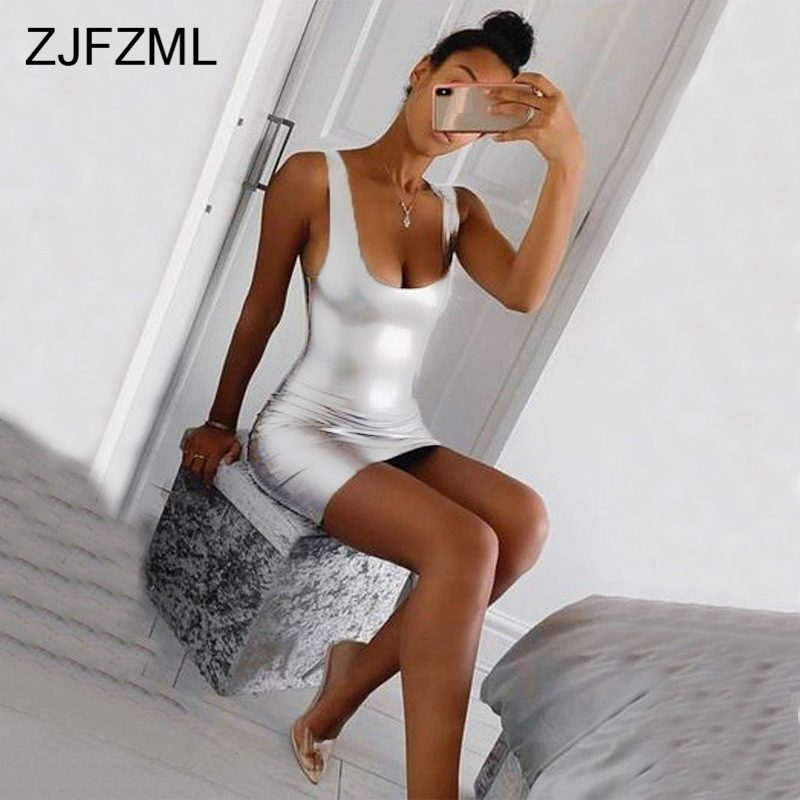 Summer Sleeveless <font><b>Bandage</b></font> <font><b>Dress</b></font> 2019 Women U-Neck Silver Short Party <font><b>Dresses</b></font> Ladies <font><b>Sexy</b></font> Club Shiny Bodycon Mini Robe Femme image