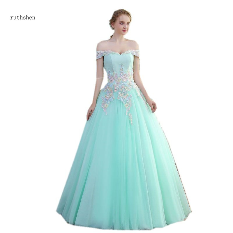 ruthshen Mint Green Quinceanera Dresses 2018 Off The Shoulder Masquerade Ball Gowns Vestido Debutante Dress For
