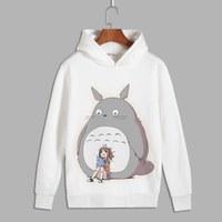 Japan Tonari no Totoro Cartoon Cosplay Cute cat Print Pullover hooded sweatshirts Unisex Fleece Hoodies for Autumn