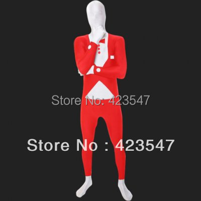 Red & White Spandex Lycra Business Suit Design Costume Halloween Party Costumes-Zentai Suit