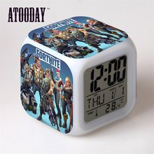 Alarm Clock LED Lampu 7 Warna Perubahan Orologio Digital Saat Klok Meja Plastik Digital Vintage(China)