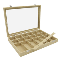 24 Grid Linen Jewelry Box Removable Showcase Storage Rings Earrings Brooch Buttons Vintage Jewelry Organizer Glass