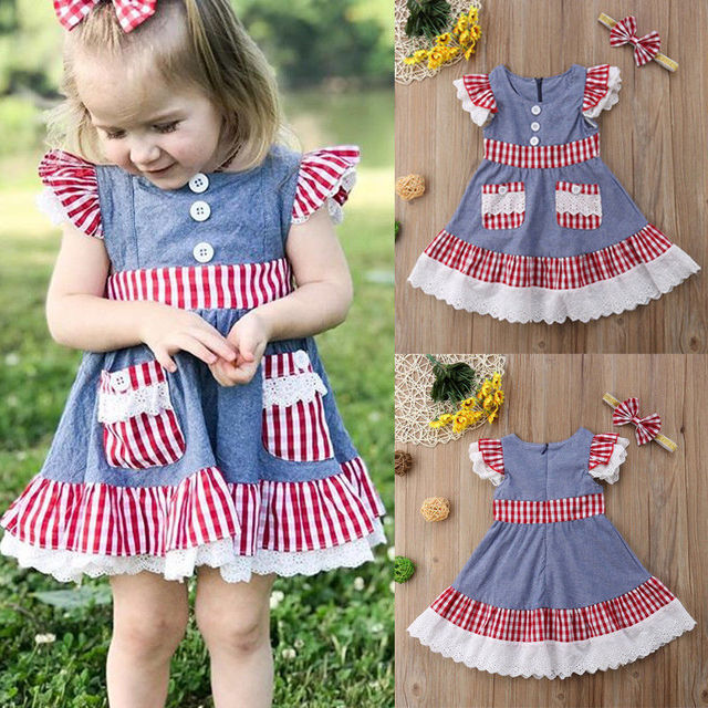 d53d6c5925 PUDCOCO Newest 2019 Newborn Baby Kids Girl Lace Ruffled Sleeveless Denim Dress  Sundress+Headband Summer Casual Clothes 1-5Y