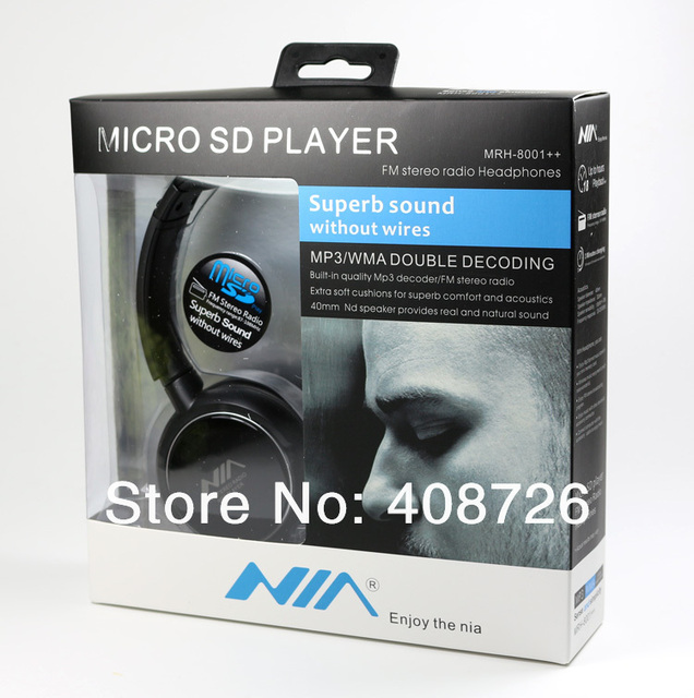 Free Dhl 50pcs/lot High qulity Micro SD MP3 Player FM Radio Stereo Headphone Headset for Celll Phone Mp4/PC Built in Battery