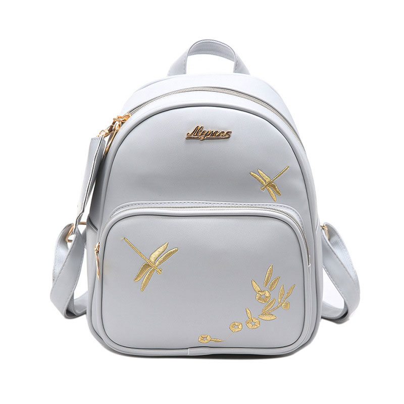 Fashion Women Leather Backpack Set Handmade Embroidery Dragonfly Floral School Bags for Girls Small Newest Female