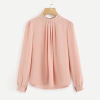 Autumn Women Tops Solid Blouse Long Sleeve Casual Pearl Chiffon Blouse Work Office Shirts O Neck