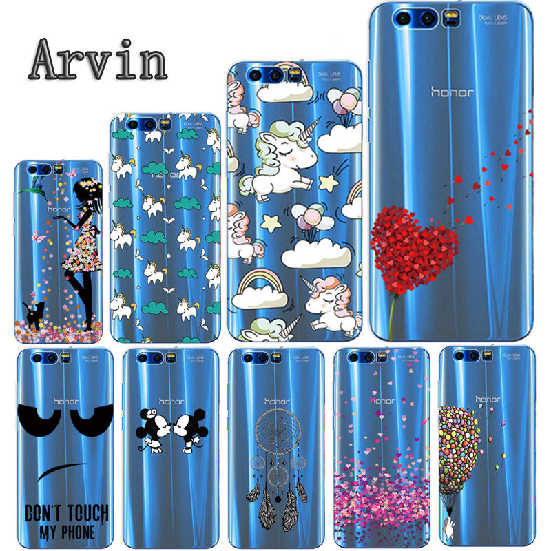 Arvin Silicone Case For Huawei Honor 9 Soft TPU Case For Huawei Honor 9 Premium Slim Crystal Clear Transparent Painting Fundas