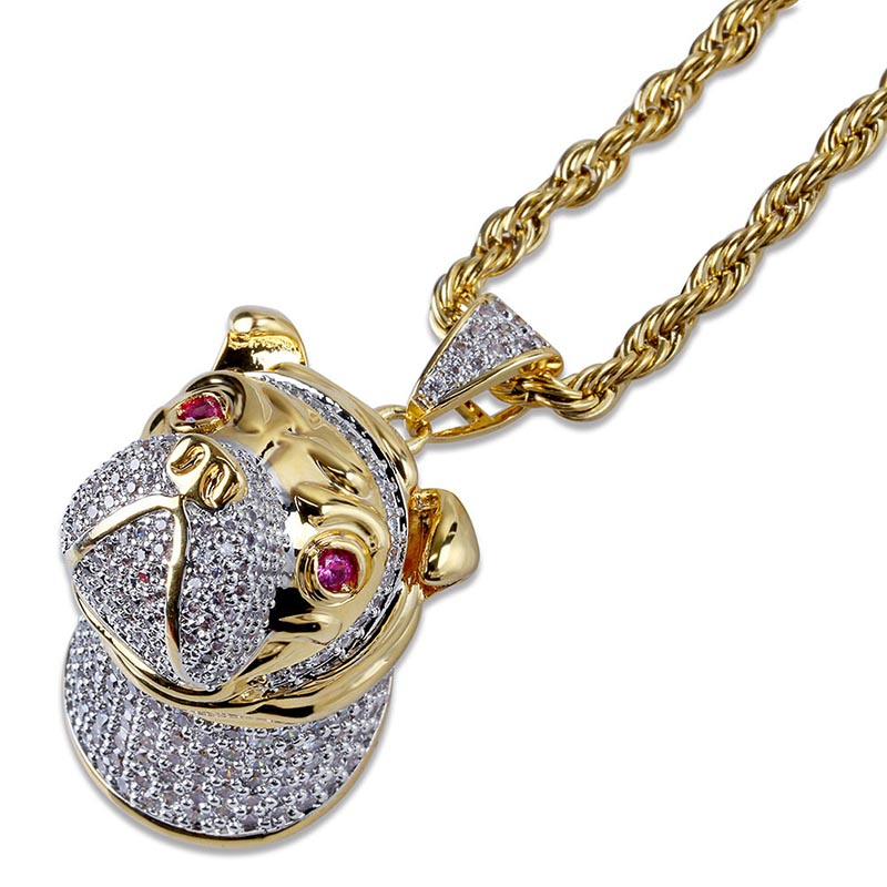 MISSFOX Hip Hop rubis Eye Jingba chien Long collier 24k plaqué or bijoux AAA cubique zircone glacé sur grands hommes pendentif - 4