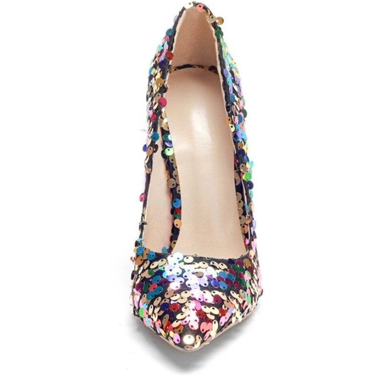 Aguja Zapatos Con Para A De La Purpurina Tacón Fiesta Alto Mujer Boda Talla Puntiagudos Cómodos Grande Sexis Moda Colorful rPYrnxvqA