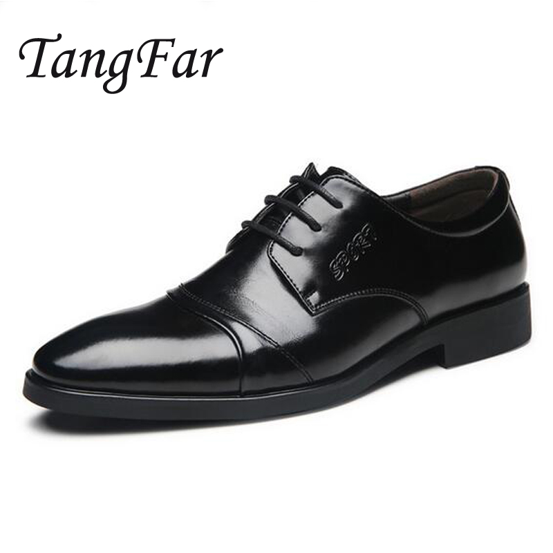 Mens Business Shoes Pointed Toe Leather Oxfords Shoes For Men Big Size 47 46 Male Dress Shoes High Quality