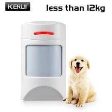 Kerui sensor ir pir animal de estimação sem fio, animal de estimação imunidade amigável sensor de movimento menos de 12kg 433mhz detector de animais para o sistema de alarme