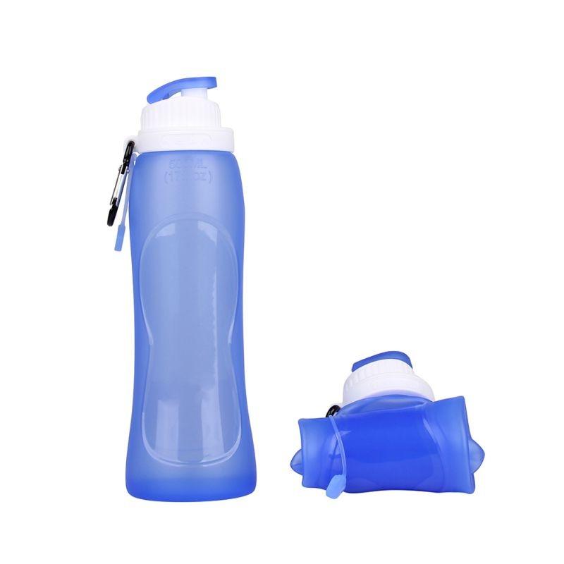 500 ml Eco-Friendly de silicona Travel Sport Flexible de botellas de agua plegab