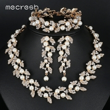 Simulated Pearl Bridal Jewelry Sets Silver / Gold-Color Necklace Set Wedding Jewelry