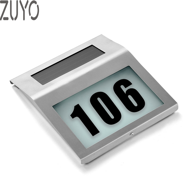 Zuyo Solar Lighted Address Sign House Number Door Apartment Outdoor Lighting Doorplate Led Lamp Wall