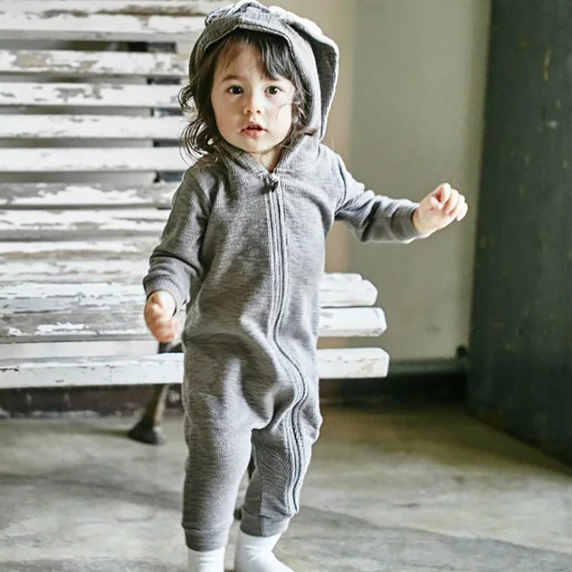 Outono Meninos Do Bebê Rompers Crianças One Pieces Jumpsuits Do Bebê da orelha de Coelho Com Capuz Zipper Bebê Recém-nascido Roupa Do Bebê Trajes Da Menina Bebes