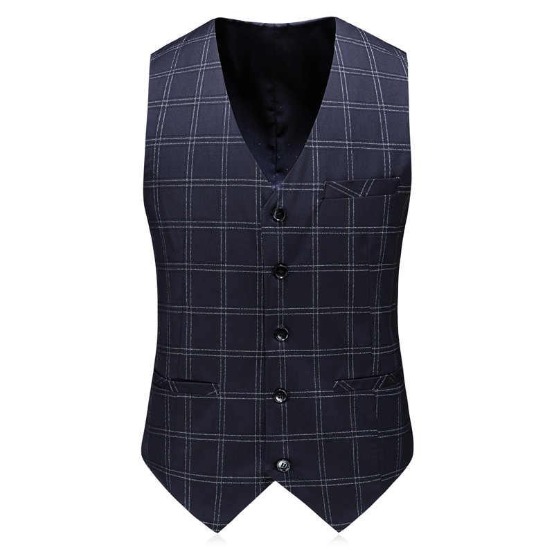 (Abrigo + Pantalones + chaleco) hombres de traje elegante plaid traje de corte slim casual de negocios de los hombres traje de 3 piezas chaqueta grande S-5/xl/ baile trajes