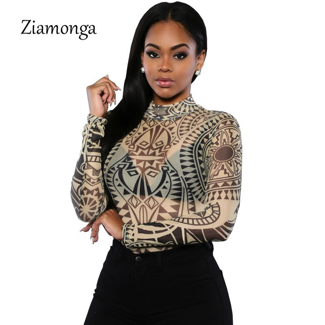 9f61a2f86ce2 Sexy Top Tattoo Print Women Bodysuit Perspective Elegant Jumpsuit Leotard Overalls  Women Sexy Club Wear Bodycon