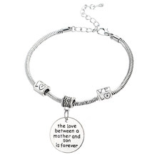 The Love Between A Mother And Son Is Forever Pendant Bracelet Bangle Jewelry Family Women Gift Mommy Mom Love Beads Bracelet(China)