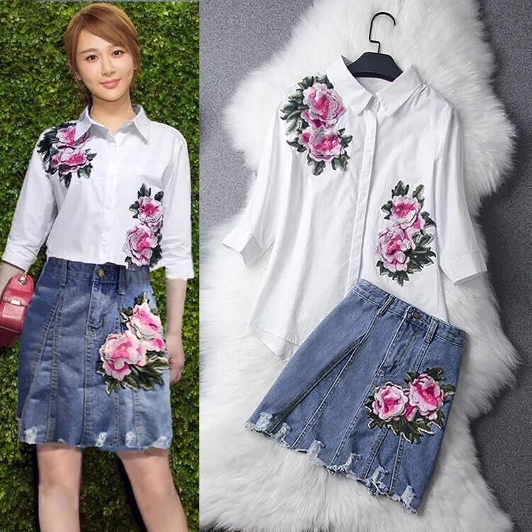 A Women White Shirt Denim Blue Skirt Flower Embroidery Suit New Brand Design High-End Quality Lady Outfit Skirts Set Clothing