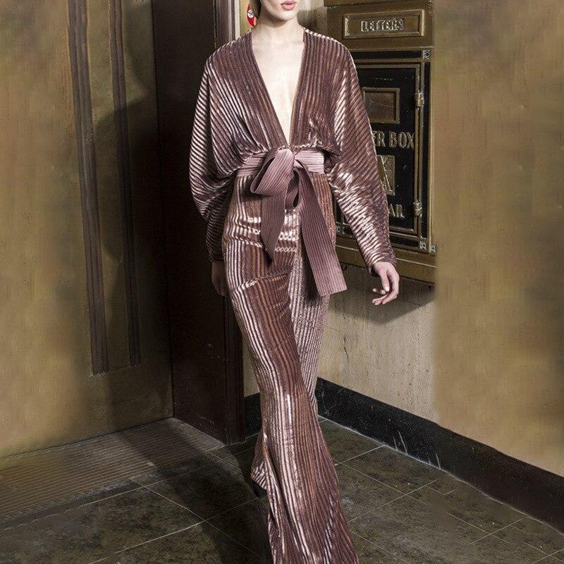 2019 les nouvelles culottes en velours or diamant femmes sont à la mode profonde col en V taille haute à lacets jambes larges pantalons décontractés femmes