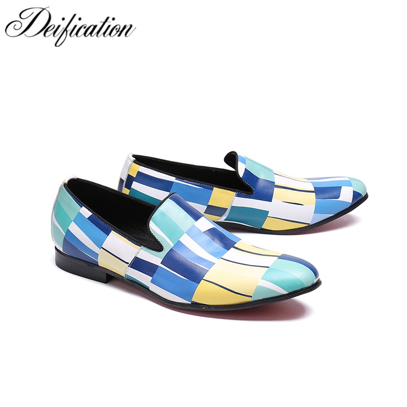 Deification Lattice Colors Printed Men's Flats Leather Shoes Moccasins Slip On Loafers Fashion Italian Shoes Men Wedding Shoes deification stylish printed men s flats casual leather shoes moccasins big buckle men loafers fashion italian male party shoes
