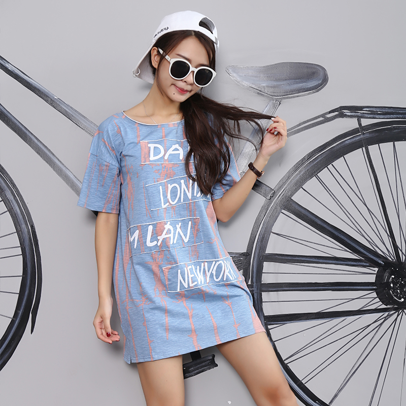 Han Edition Make Summer Increased Fertilizer In The Round Collar Long Loose T-shirts with Short Sleeves Shirt
