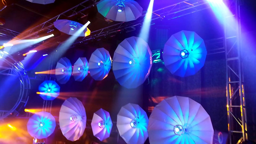 TIPTOP Stage Singing Dancing Decoration RGB Umbrella Led Light Gathering Party Wedding Birthday Stage Light Photo Background