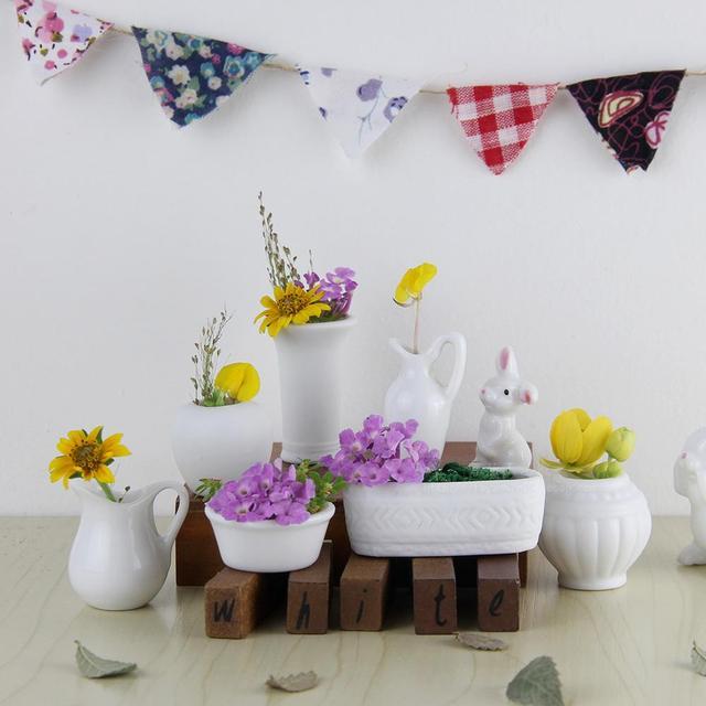Décoration De La Maison Accessoires Décoration Blanc Poche Mini Vase Pouce  En Céramique Pot De Fleurs