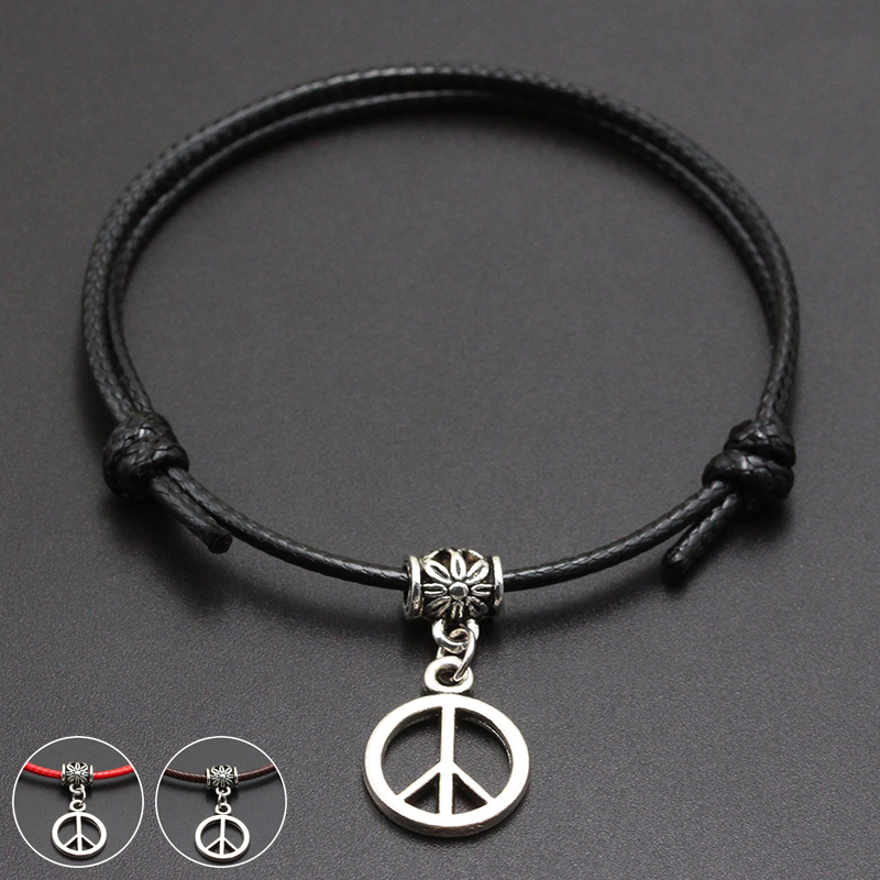 2020 New Peace Sign Pendant Red Thread String Bracelet Lucky Black Coffee Handmade Rope Bracelet for Women Men Jewelry