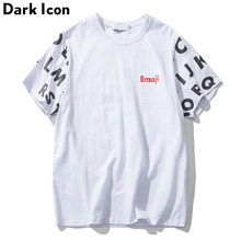 DARK ICON Printed Loose Style Round Neck Men's T Shirt Short Sleeve 2019 Summer T-shirt Men Oversize Tee Black White(China)