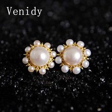 Venidy 2017 New Freshwater Cultured Pearl 10mm Fine Stud Earrings 925 Sterling Silver Fashion Jewelry & Accessories For Women