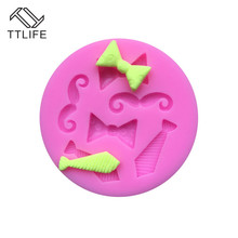 TTLIFE 6-Cavity Tiny Bow Tie Mustache Cake Tools Silicone Mold for Fondant Sugarcraft Mould Gum Paste Chocolate Craft