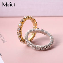1piece Bright Silver-Color Elastic Cubic Zirconia Rings. Shining Full Crystal Rhinestone finger Rings for women jewelry(China)