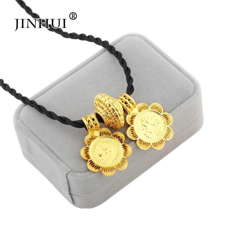 Jin Hui, 2019, эфиопские Ювелирные наборы, большая монета, подвеска, ожерелье, серьги, кольцо, золотые подарки для женщин, африканская Эритрея, Habesha ювелирные изделия