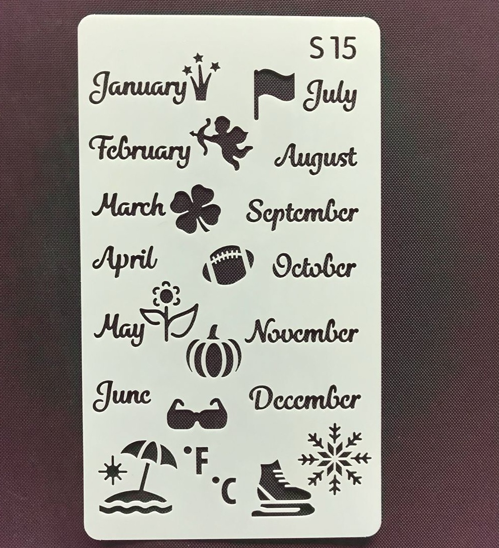 Month Ruler Craft Hollow Layering Stencils For Wall Painting Scrapbooking Stamp Album Decorative Bullet Journal Stencil