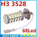 Alta Qualidade 68 LED SMD H3 3528 Car Fog luz do Farol bulbo Branco de Circulação Diurna Carro Levou ParkingLight Estilo Do Carro Lâmpada Led 12 V