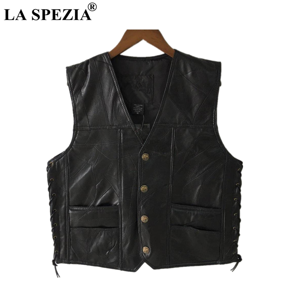 LA SPEZIA Motorcycle Vest Leather Men Black Waistcoat Male Biker Punk Genuine Leather Button Lace Up Autumn Sleeveless Jacket