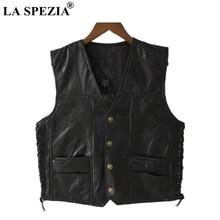 LA SPEZIA Motorcycle Vest Leather Men Black Waistcoat Male Biker Punk Genuine Button Lace Up Autumn Sleeveless Jacket