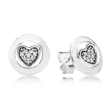 Fashion New 100% 925 Sterling Silver Branded Earrings For Women Heart Love Forever Earring Studs Fine Europe Jewelry Original for 100% new original aeonmed china aeon 7200 a100d fetal heart detectors ultrasonic new original