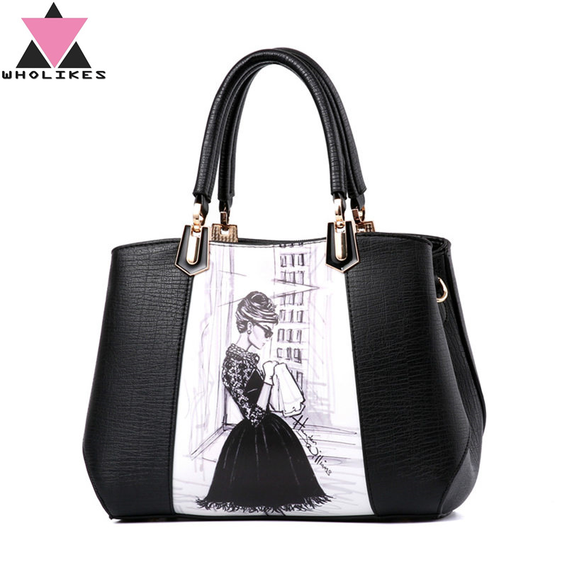 2016 Fashion Brand Retro PU Leather Women  Hand Bag High Quality Europe and The United States One Shoulder Inclined Shoulder Bag retro lady s pu hand one shoulder bag w strap black